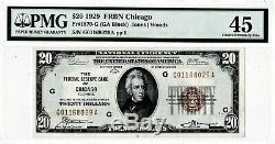 1929 20 $ Chicago Illinois IL Federal Reserve Bank Note Brown Monnaie Nationale