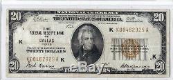 1929 $ 20 Dallas Billet De Banque De La Réserve Fédérale Du Texas Au Texas, Monnaie Nationale Brown