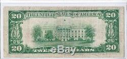 1929 $ 20 Dallas Tx Texas Federal Reserve Bank Note Brown Monnaie Nationale