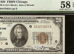 1929 $ 20 Dollar Bill Brown Sceau Fr Bank Note Monnaie Nationale De L'argent Pmg 58 Epq
