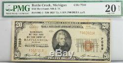 1929 $ 20 Dollar Michigan Banque Nationale Note Fr 1802-1 Pmg Certifié Devise