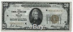 1929 20 $ Federal Reserve Bank Note Dallas Texas Monnaie Nationale Circulated Vf