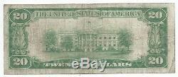 1929 20 $ Fostoria, Oh Banque Nationale Monnaie Remarque Bill Ch 9192 Type De Fin 1 Ohio