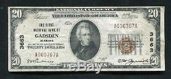 1929 20 $ La First National Bank Of Gadsden, Al Monnaie Nationale Ch. # 3663