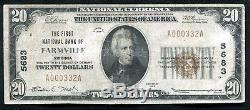 1929 20 $ La Première Banque Nationale De Farmville, Va Monnaie Nationale Ch. # 5683