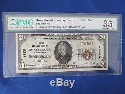 1929 20 $ Monnaie Nationale D'abord Banque Nationale Honeybrook Pa Pmg 35 Choice Very