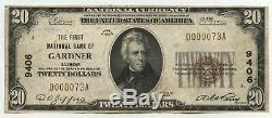 1929 $ 20 Monnaie Nationale Note 9406 Gardner Illinois First Bank Low Ba392