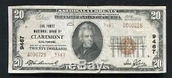 1929 20 $ Tyii Première Banque Nationale De Claremont, Ca Monnaie Nationale Ch. # 9467