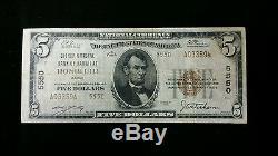 1929 5,00 $ Monnaie Nationale Type 2 Évêque Banque Nationale D'hawaii À Honolulu