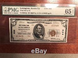 1929 5 $ Banque Nationale De Devises De Lexington, Ky Pmg 65 Epq