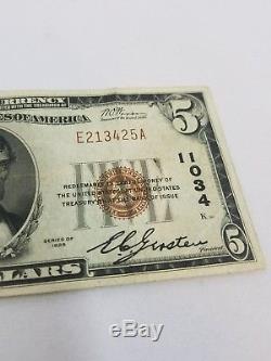 1929 5 $ Banque Nationale Note, New York, Devise Rare, Cinq, Série, Original, Facture