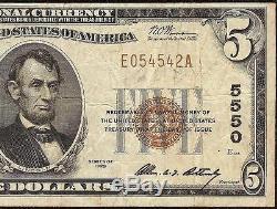 1929 $ 5 Dollar Honolulu Hawaii Bishop National Bank Note Monnaie Billets