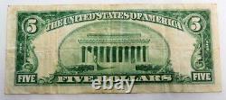 1929 $ 5 First National Bank Portland Maine Papier Monnaie Nationale Remarque Argent