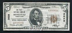 1929 5 $ La Première Banque Nationale De Homestead, Pa Monnaie Nationale Ch. # 3829