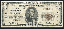 1929 $ 5 La Première Banque Nationale De Marianna, Fl National Currency Ch. # 6110