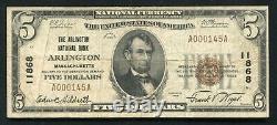 1929 $5 The Arlington National Bank Arlington, Ma Monnaie Nationale Ch. #11868