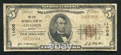 1929 $5 The City National Bank Of Atchison, Ks Monnaie Nationale Ch. #11405