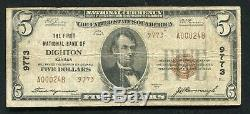 1929 5 $ Us La Première Banque Nationale De Dighton, Ks National Currency Ch. # 9773
