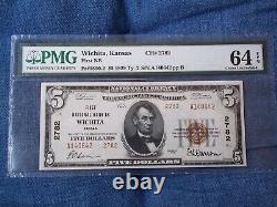 1929 $5 Wichita Kansas Ks Monnaie Nationale T2 # 2782 1ère Banque Nationale Pmg 64 #