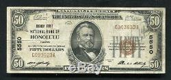 1929 50 $ Bishop First National Bank Of Honolulu, Salut National Monnaie Ch. # 5550