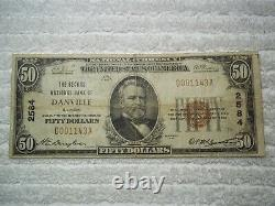 1929 $50 Danville Illinois IL National Currency T1 # 2584 2nd National Bank Of #