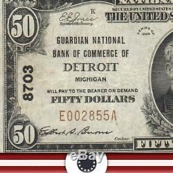 1929 50 $ Detroit, MI Banque Nationale Note Michigan Devise E002855a