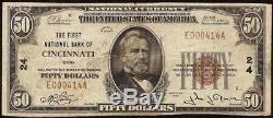 1929 $ 50 Dollar Bill Charte Basse 24 Cincinnati Ohio National Banque Note Monnaie