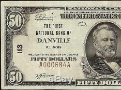 1929 50 $ Dollar Bill Danville Banque Nationale Note Monnaie Billets Illinois