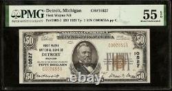 1929 $50 Dollar Bill Detroit National Bank Note Currency Paper Money Pmg 55 Epq