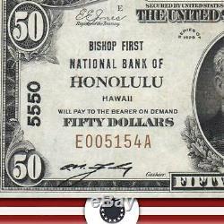 1929 50 $ Honolulu, Salut Banque Nationale Note Hawaii Monnaie E005154a