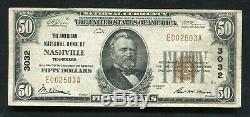 1929 50 $ La Banque Nationale Américaine De Nashville, Tn Monnaie Nationale Ch # 3032