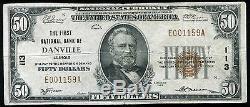 1929 50 $ La Première Banque Nationale De Danville, IL Monnaie Nationale Ch. # 113 Vf +