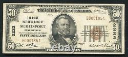 1929 50 $ La Première Banque Nationale De Mckeesport, Pa Monnaie Nationale Ch. 2222