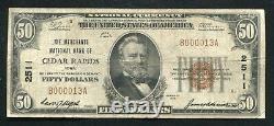 1929 50 $ Merchants Banque Nationale De Cedar Rapids, Ia Monnaie Nationale Ch. #2511