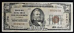1929 $50 National Currency Crocker First National Bank Of San Francisco Note