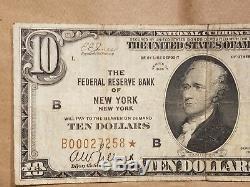 1929 Banque Fédérale De Réserve De New York, Devise Nationale: Cachet Brun De 10 Dollars Star Note
