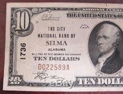 1929 Billet De 10 $ En Monnaie Nationale La Selma National Bank Of Selma, Alabama 7084