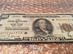 1929 Billet De 100 Dollars Us Monnaie Nationale La Banque De Réserve Fédérale De New York Distribuée