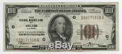 1929 Billet De 100 $ En Monnaie Nationale Banque De Réserve Fédérale De Chicago Ba613