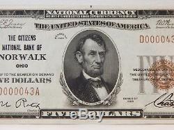 1929 Citizens Natl Bank Norwalk, Ohio - 5 U $. S. Monnaie Nationale - # 11275 # 610z