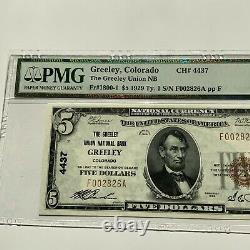 1929 $ Colorado National 5 Monnaie Greeley Union Banque Nationale Pmg 65