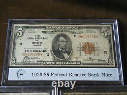 1929 Ensemble De Billets De Banque En Monnaie Nationale 5 $, 10 $, 20 $, 50 $, 100 $ (ensemble De 5 Billets)