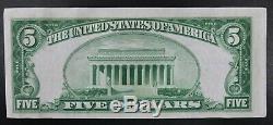 1929 Etats-unis $ 5 Cinq Dollars Banque Nationale Devise Ville Remarque Evansville Indiana