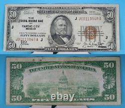 1929 La Banque De Réserve Fédérale De Kansas City 50 $ Monnaie Nationale Fr# 1880-j