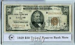 1929 Monnaie Nationale 50 $ Cleveland Ohio Reserve Bank Note Rx656