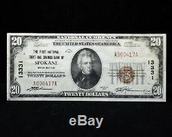 1929 Monnaie Nationale N ° 13331 Première Fiducie Nationale Et Caisse D'épargne De Spokane