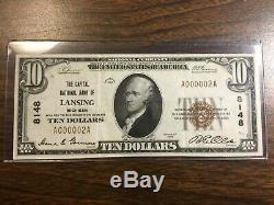 1929 Série $ 10.00 Monnaie Nationale Par Rapport Banque Nationale De Lansing Michigan