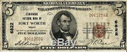 1929 Stockyards Banque Nationale De Fort Worth Texas Monnaie Nationale 5 $ Ch # 6822