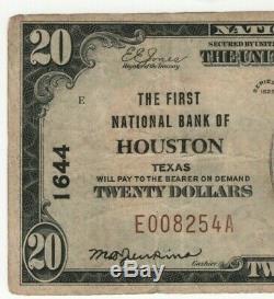 1929 T1 20 $ Première Banque Nationale Houston Texas Billet De Banque National Devise Vf