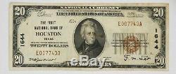 1929 T1 20 $ Première Banque Nationale Houston Texas Billets De Banque Nationaux Monnaie Vf743a